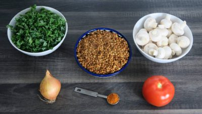 Boerenkool met linzen en champignons ingrediënten