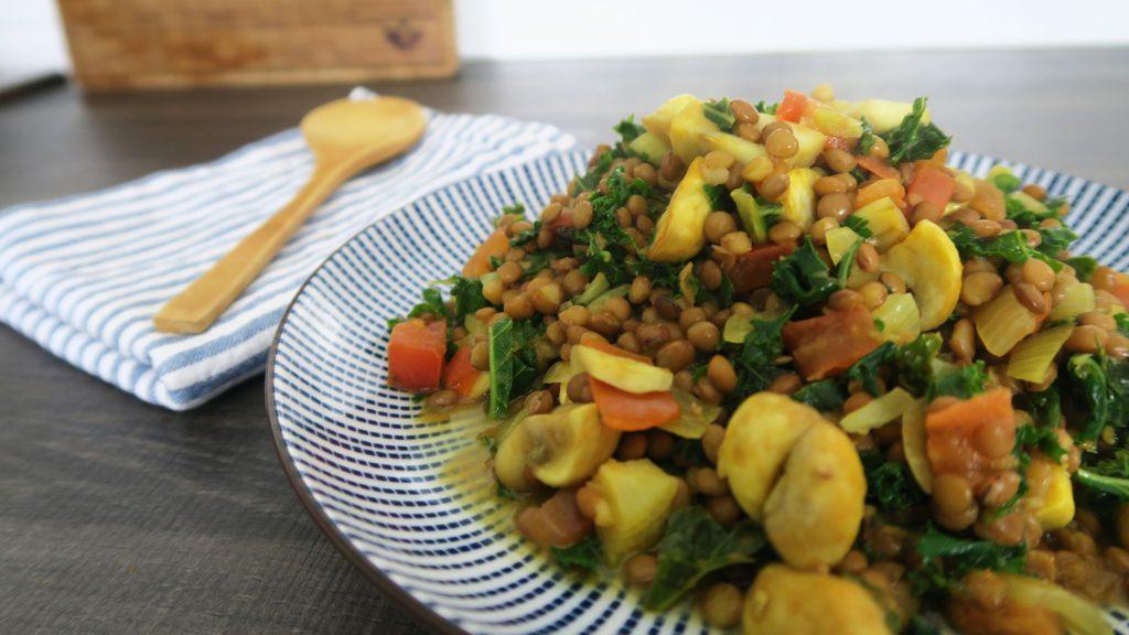 Boerenkool met linzen en champignons recept