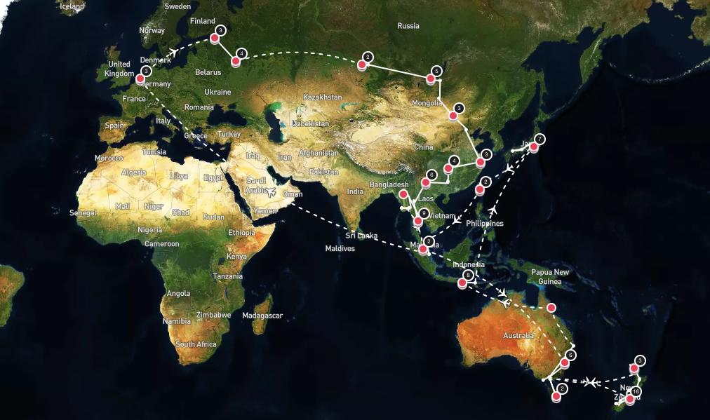 Onze route wereldreis