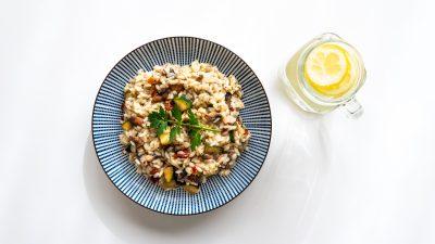 Vegan risotto met champignons