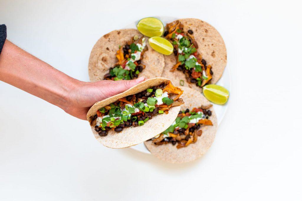 Mexicaanse tortilla met oesterzwammen
